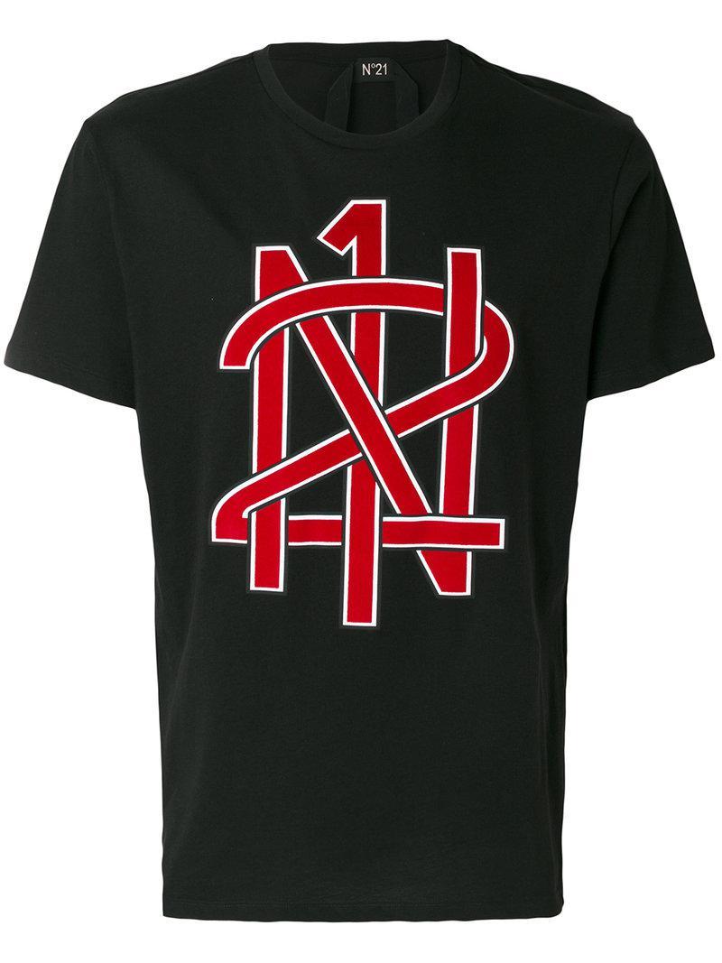 Lyst n 21 logo print t shirt in black for men for Print logo on shirt