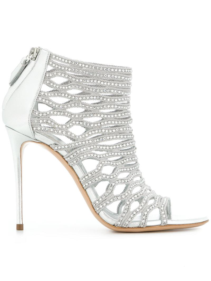 embellished cage sandals - Metallic Casadei