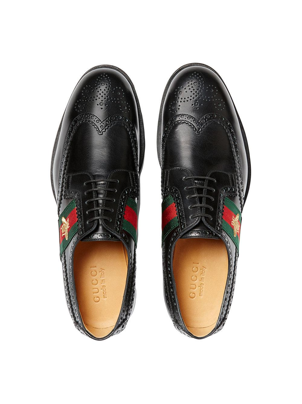 8e65d8cba Gucci - Black Leather Lace-up With Bee Web for Men - Lyst. View fullscreen