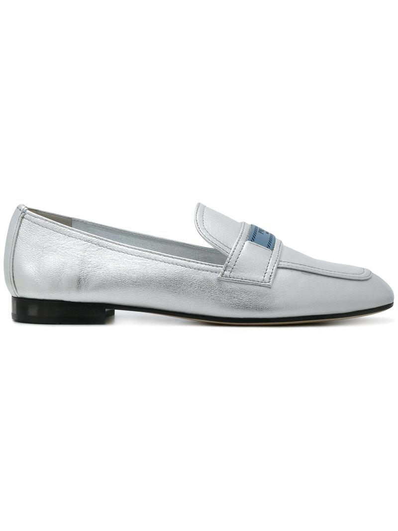 0e3797d1b20 Prada Silver Logo Leather Loafers in Metallic - Save 64% - Lyst