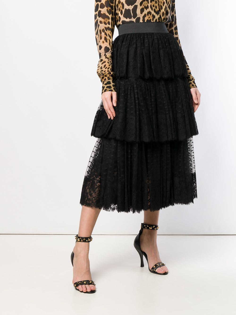 8240ed3c4 Dolce & Gabbana - Black Pleated Layered Tulle Skirt - Lyst. View fullscreen