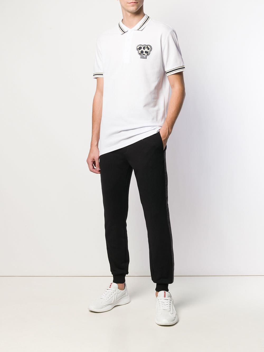 bcc0d98f Lyst - Class Roberto Cavalli Snake Logo Polo-shirt in White for Men