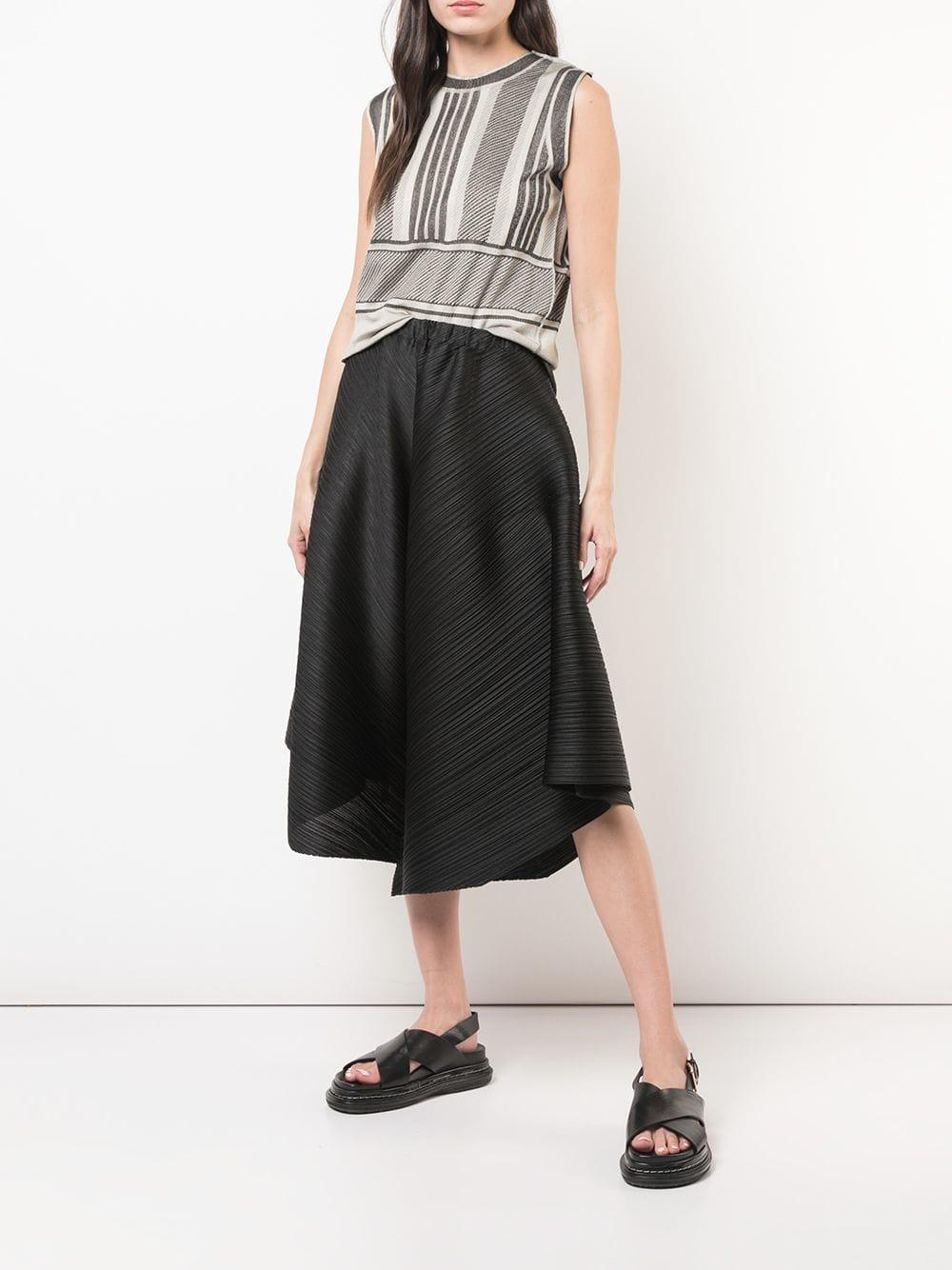 860ce85006780 Pleats Please Issey Miyake - Gray Striped Sleeveless Top - Lyst. View  fullscreen