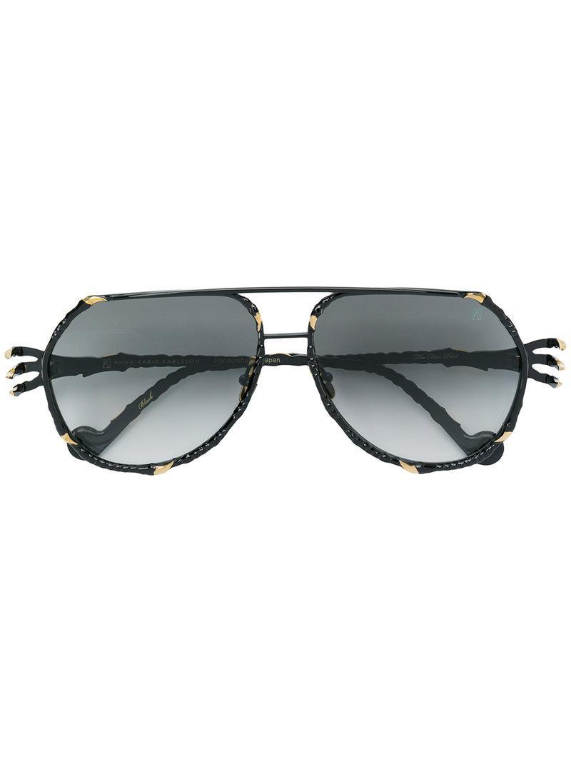 e9177edd659 Anna Karin Karlsson The Claw Pilot Sunglasses in Black - Lyst