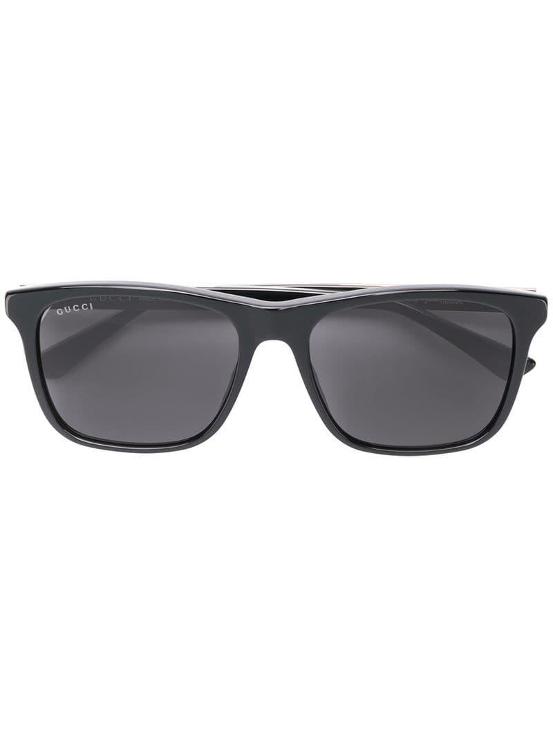 b8345f74f3 Gucci - Black Rectangular Framed Sunglasses for Men - Lyst. View fullscreen