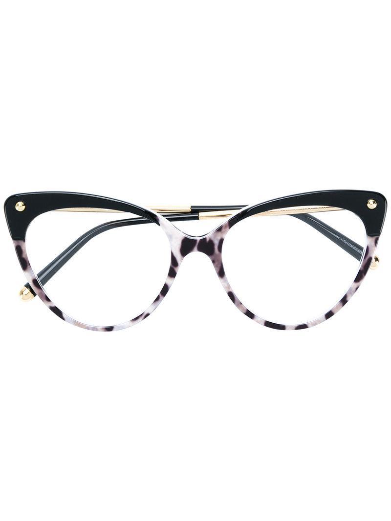 fbd8f025015d Dolce & Gabbana Cat Eye Frame Glasses in Black - Lyst