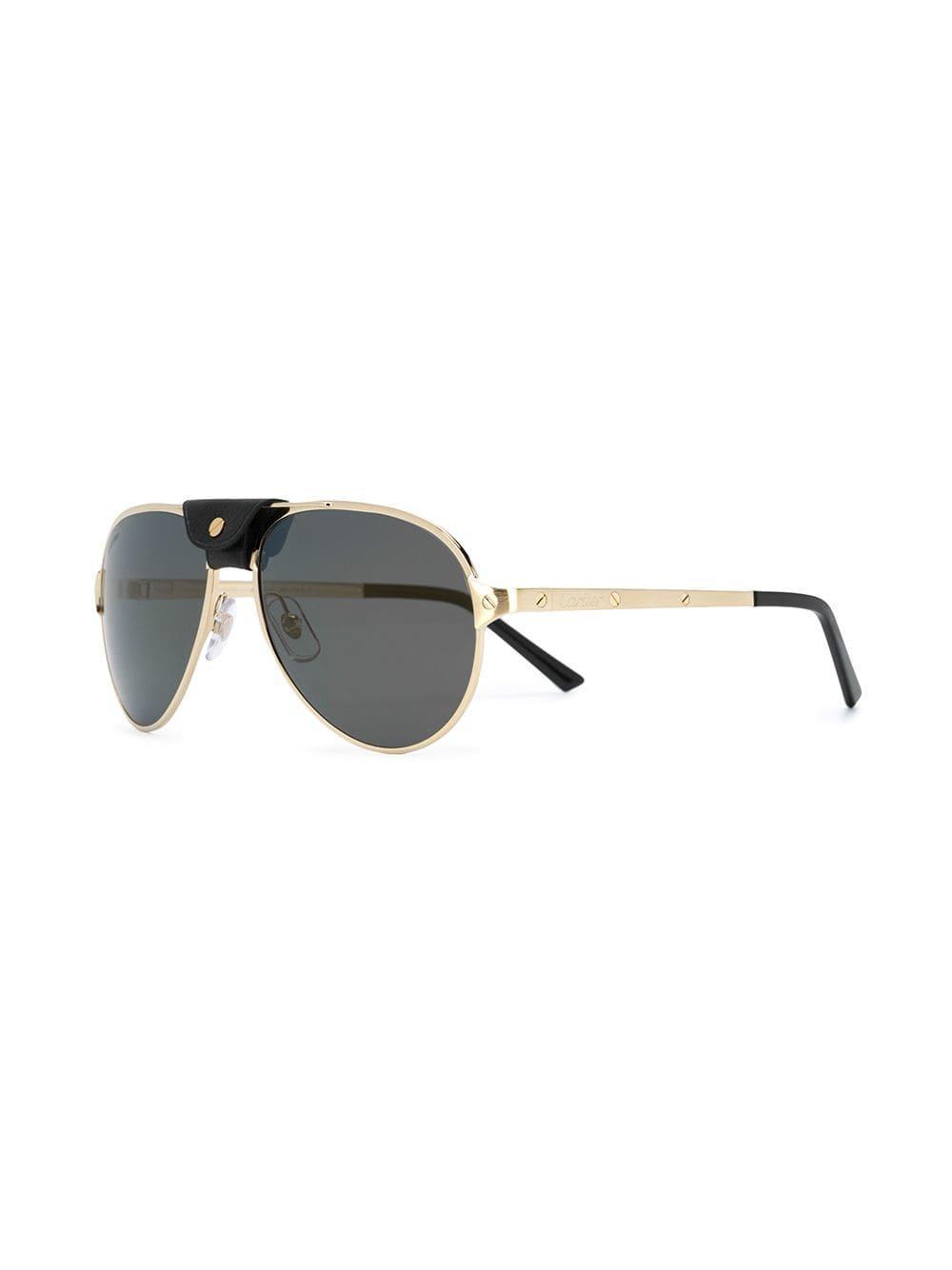 fbdc29ab94d4 Cartier - Metallic Aviator Sunglasses - Lyst. View fullscreen