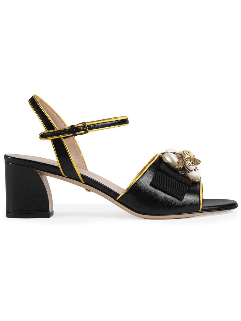 8d1b5f24e7f4 Lyst - Gucci Leather Mid-heel Sandal With Bee in Black