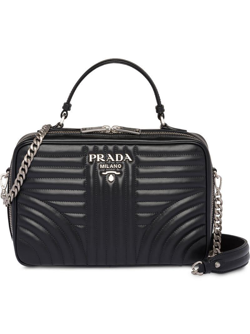 13e470812a4c04 Prada Diagramme Handbag in Black - Lyst