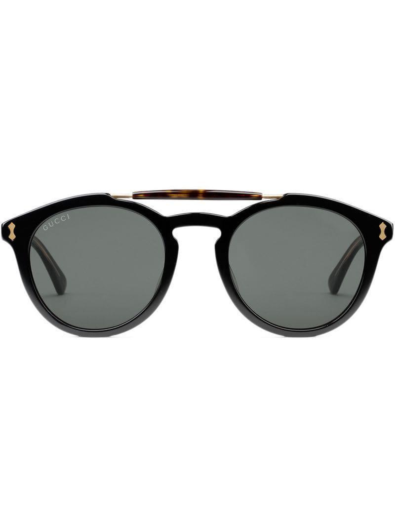fbb66b37281 Gucci - Black Round-frame Acetate Sunglasses for Men - Lyst. View fullscreen