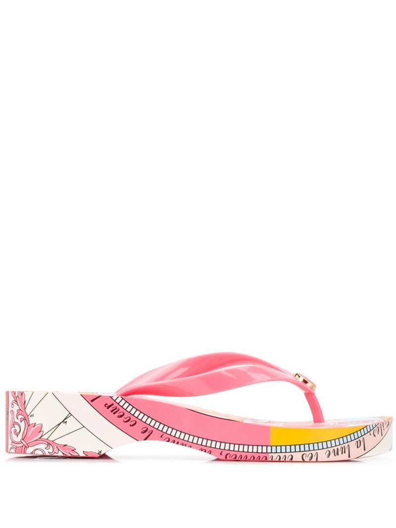7f2fe6f68 Tory Burch Printed Carved Wedge Flip-flops in Pink - Lyst