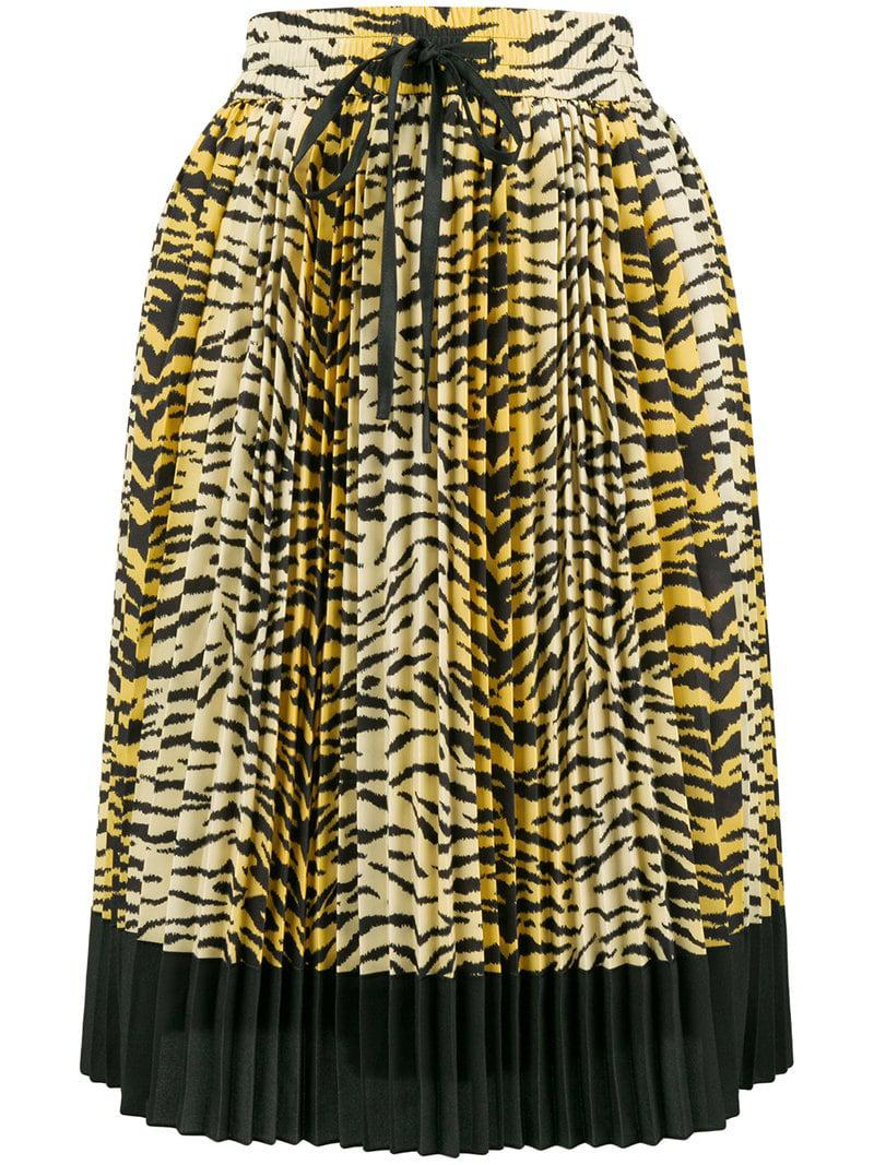 61403f1a5cf2e Lyst - RED Valentino Pleated Leopard Skirt in Yellow - Save ...