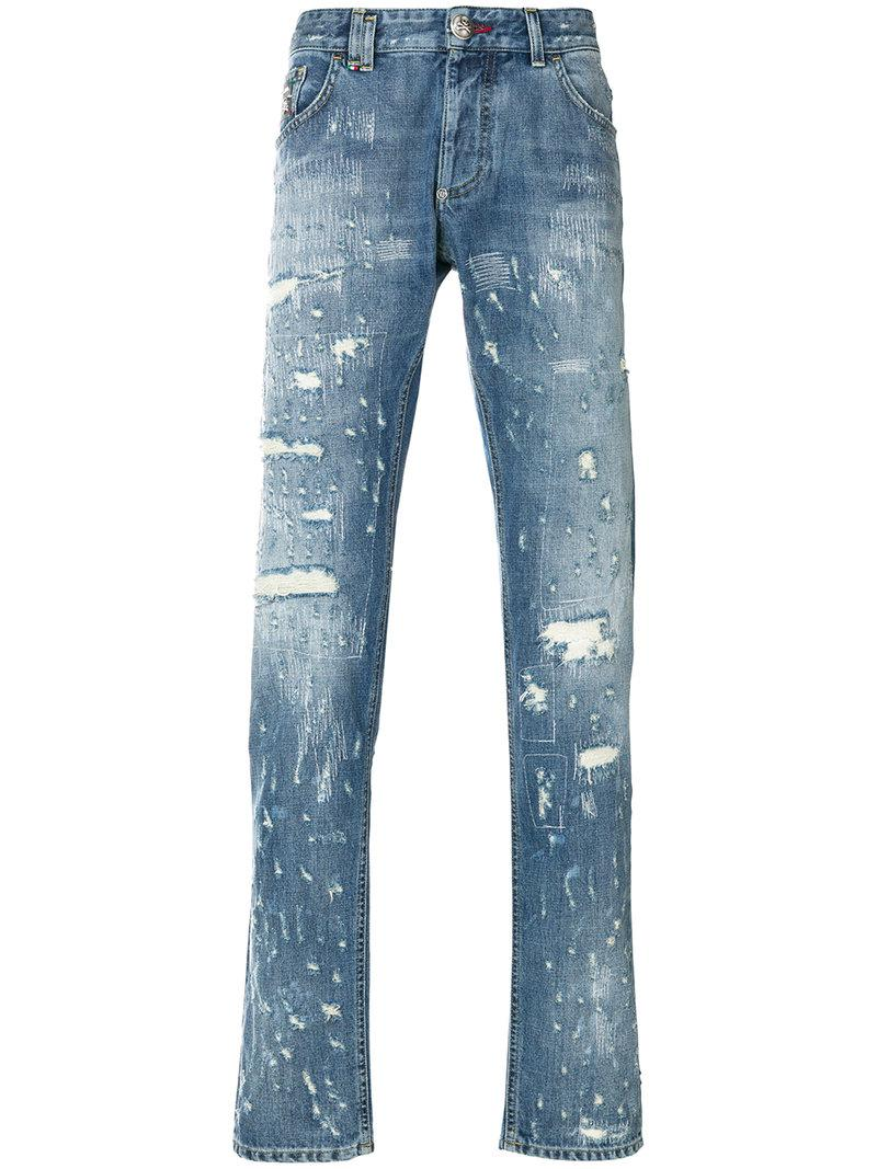 Shot denim jeans - Grey Philipp Plein J7vJtRc