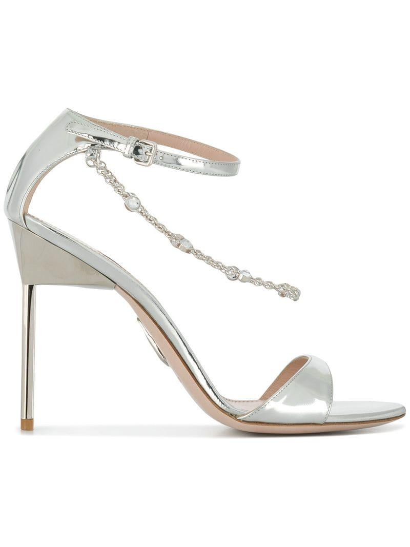 ed65d39437a Lyst - Miu Miu Crystal Chain Stiletto Sandals in Metallic