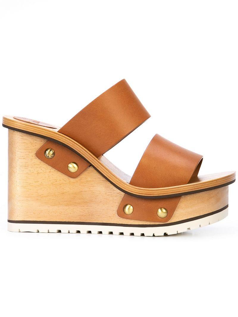 eec98ebee6 Chloé Wedge Sandals in Brown - Lyst