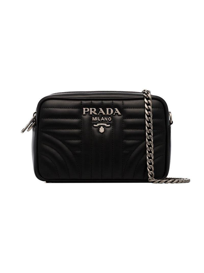 fa3abf6ee831 Prada Diagramme Crossbody Bag in Black - Lyst