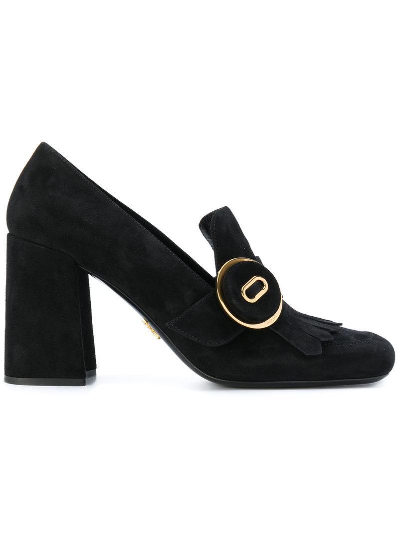 Prada Fringed block heeled loafers TVaUkSQzD