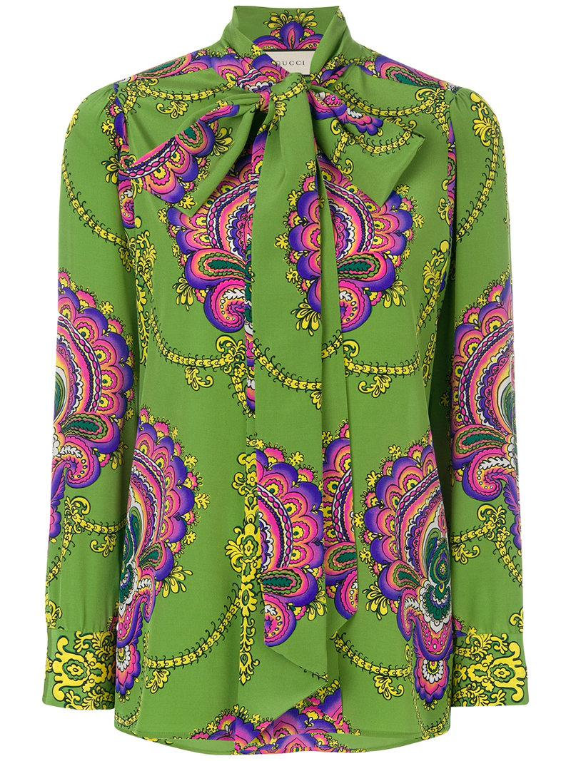 07e307a9 Gucci 70's Inspired Silk Shirt in Green - Save 39% - Lyst