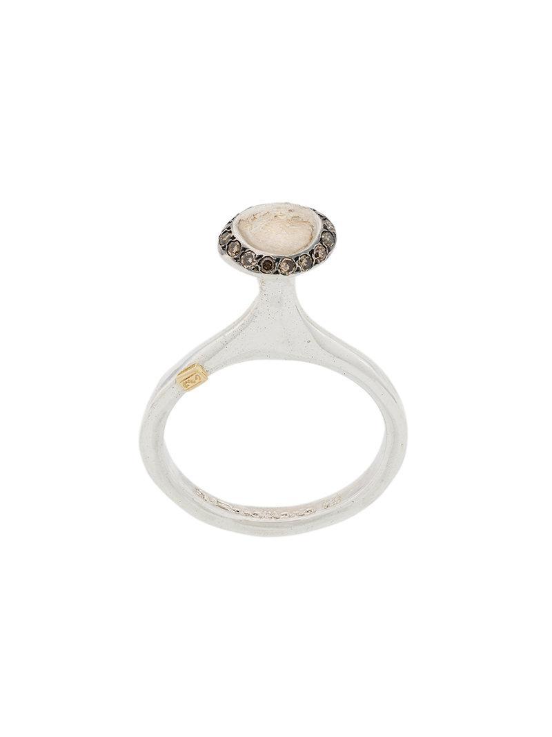Rosa Maria circular diamond ring - Metallic qH74PGC2