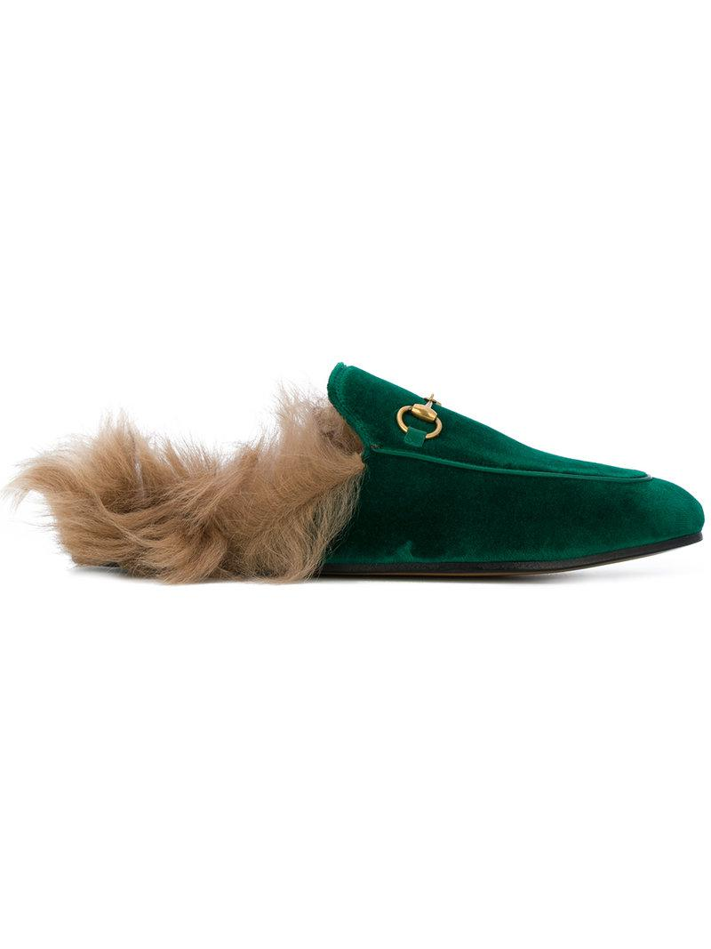 c327aa05c0d Gucci Princetown Velvet Slippers in Green - Save 22% - Lyst