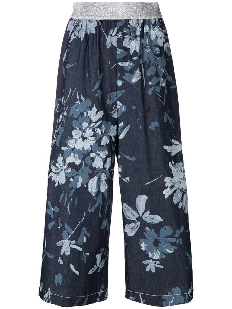 cropped floral print trousers - Blue I'm Isola Marras rBUdqsAB4