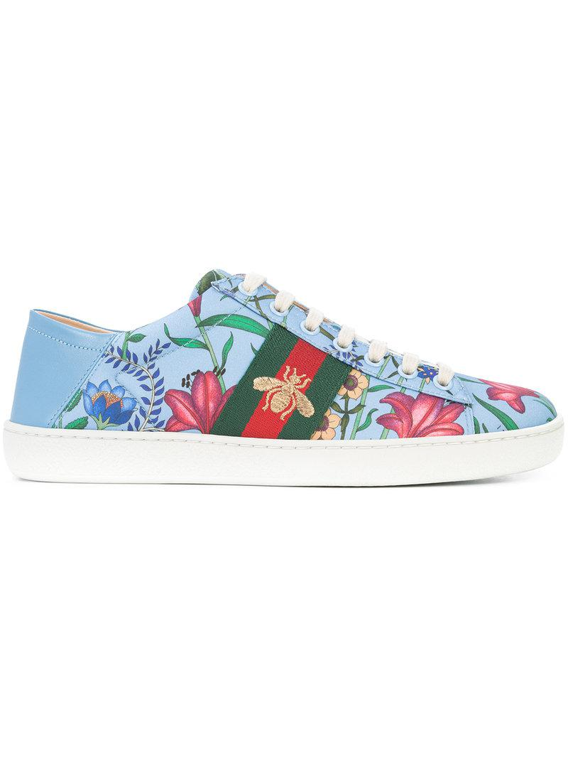 cheap for discount 999ea ad393 Lyst - Gucci Ace New Floral Print Sneakers in Blue