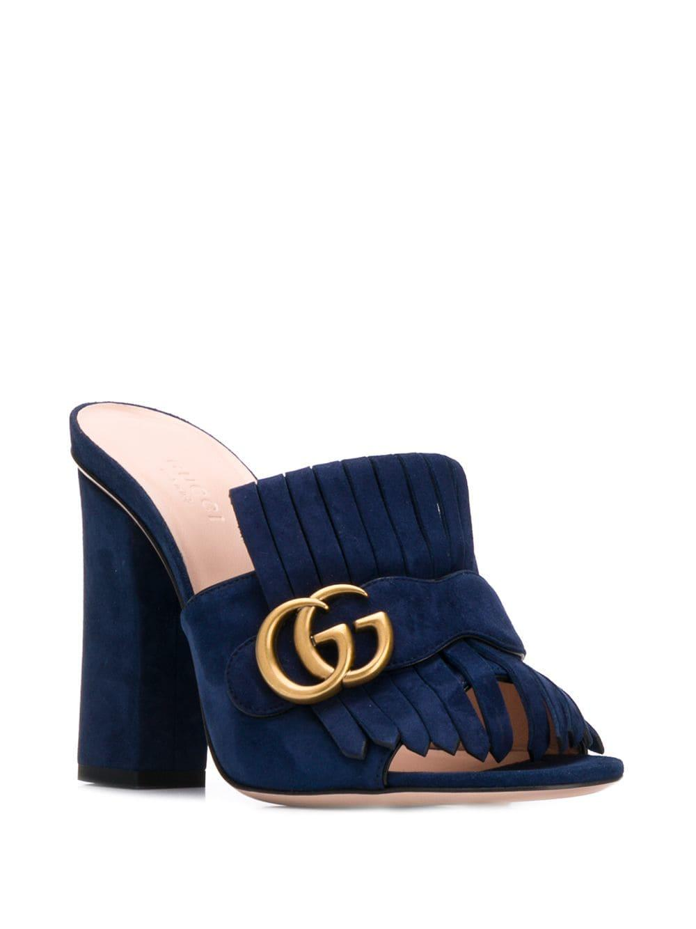 ffbe66bf0 Lyst - Gucci GG Logo Buckle Heeled Sandals in Blue