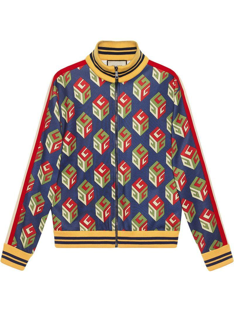 c78c1fa9e Gucci GG Wallpaper Technical Jersey Jacket in Blue for Men - Lyst