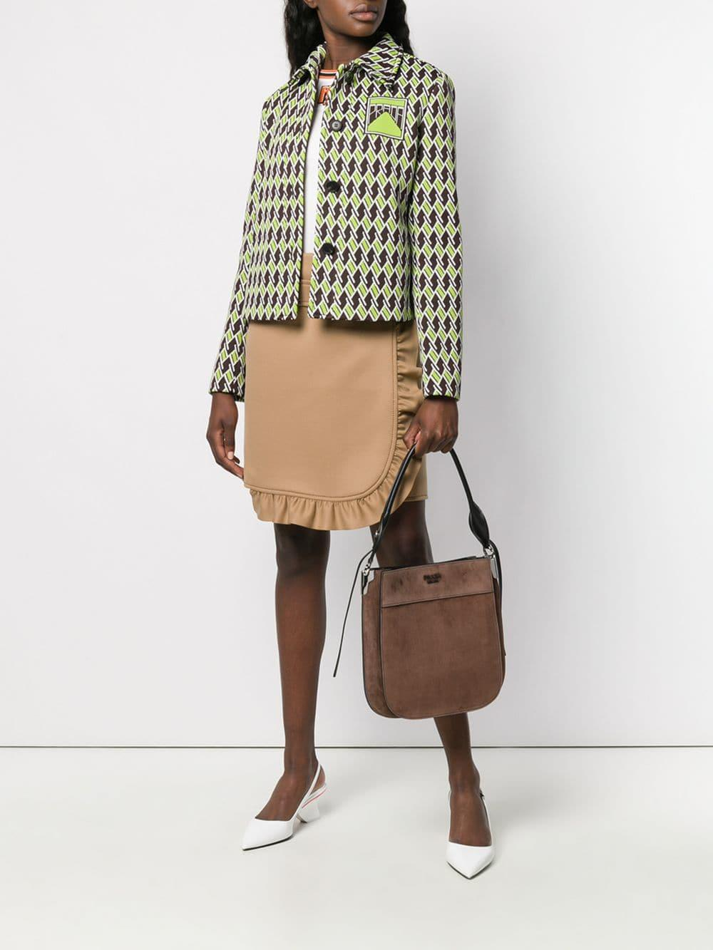 a71ba1a86f26 Lyst - Prada Logo Plaque Shoulder Bag in Brown