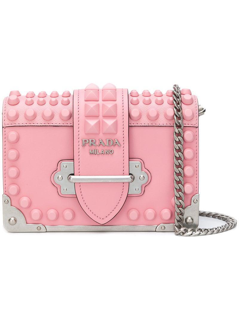 db72facc80c4 Prada Studded Saffiano Cahier Bag in Pink - Lyst