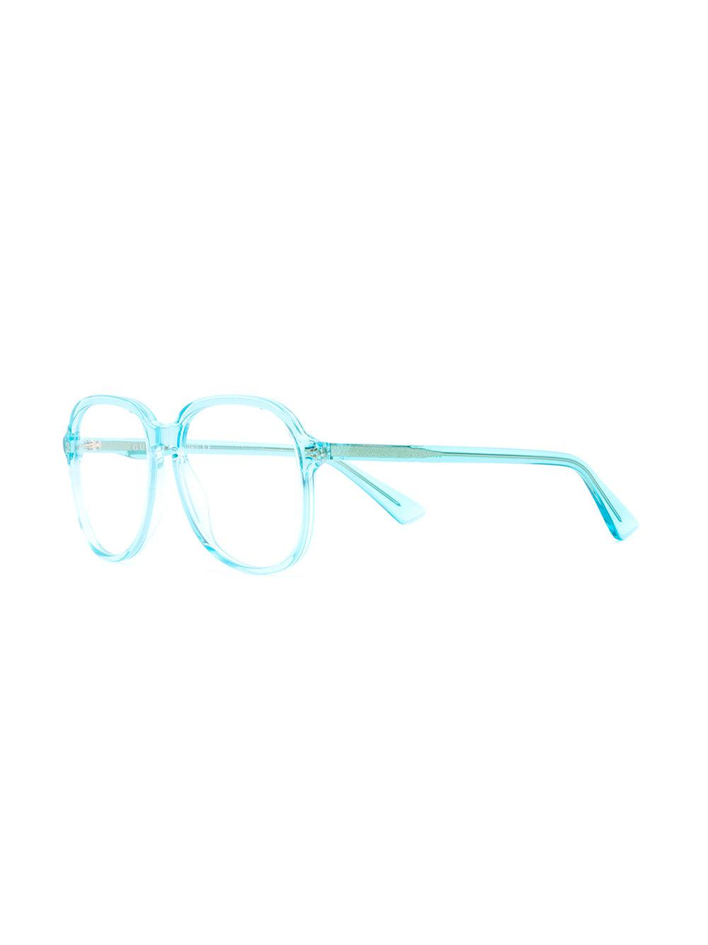 970bc4463d Gucci Clear Oversized Glasses in Blue - Lyst