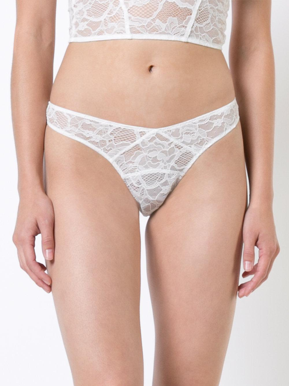 1e67f9936 Fleur du Mal Lace High Leg Thong in White - Lyst
