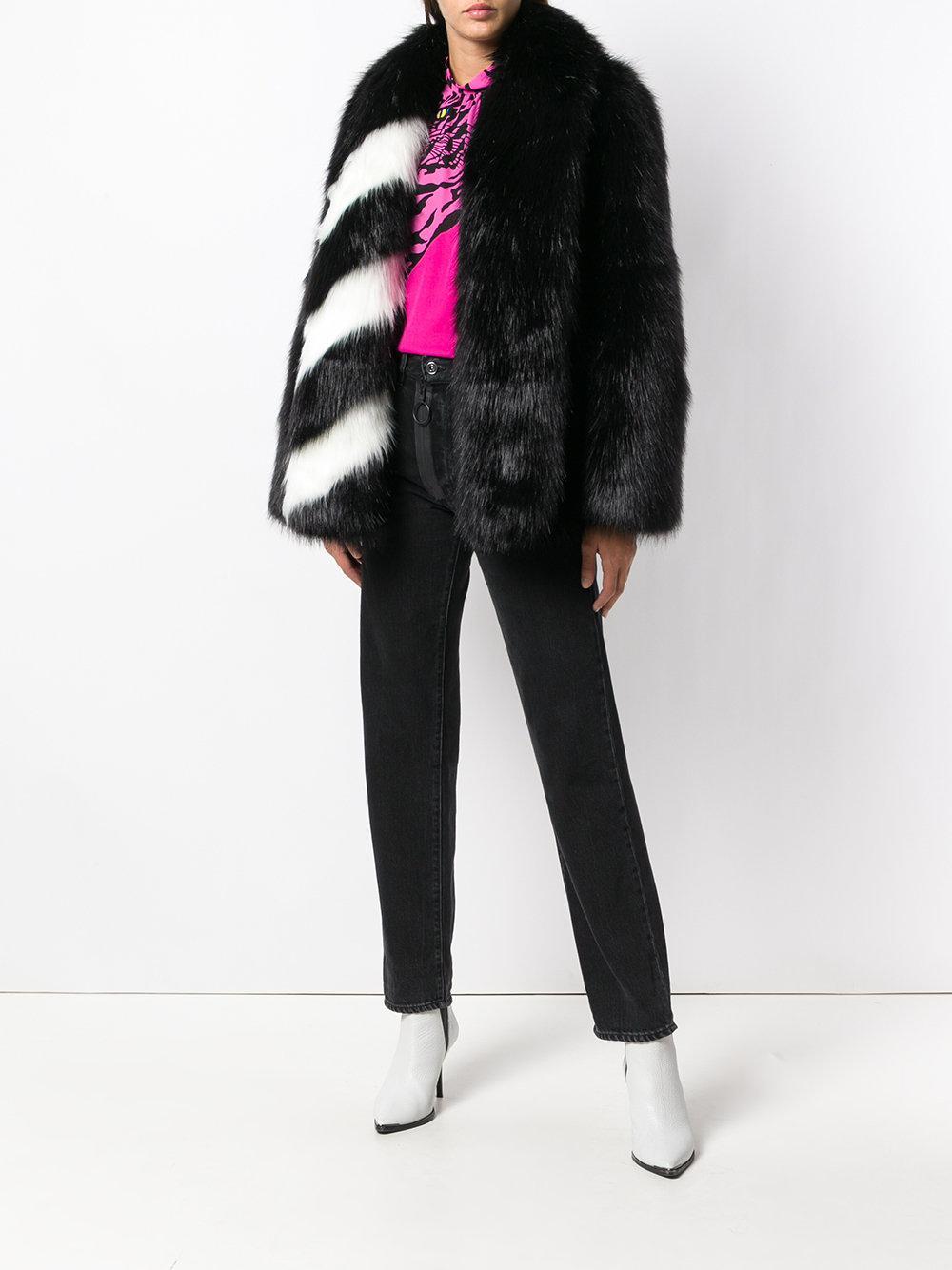 12535d45a240 Lyst - Off-White c o Virgil Abloh Striped Collar Fur Jacket in Black - Save  51%