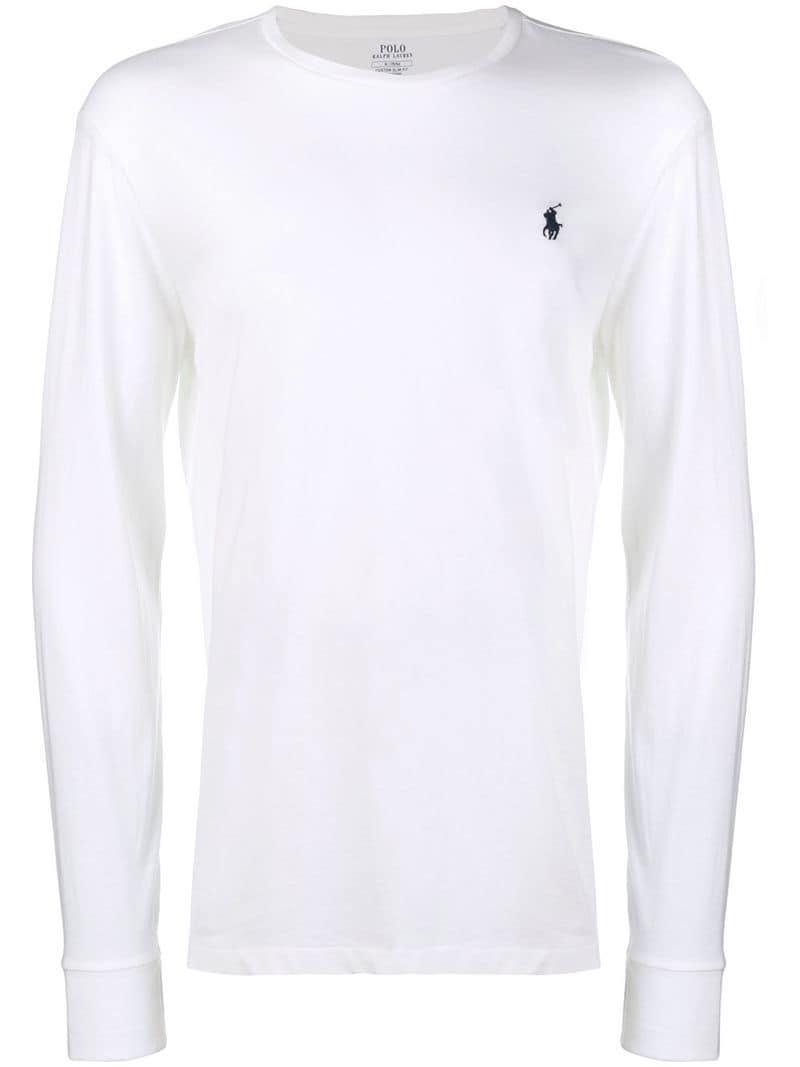 35c67c190b3f27 Polo Ralph Lauren. T-shirt classique à manches longues homme de coloris  blanc