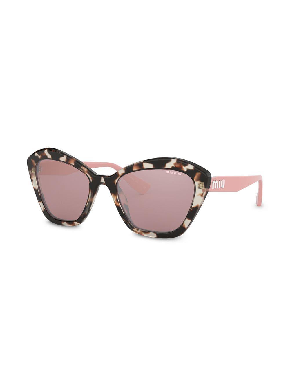 6745eef71ac0 Lyst - Miu Miu Oversized Cat-eye Sunglasses in Brown