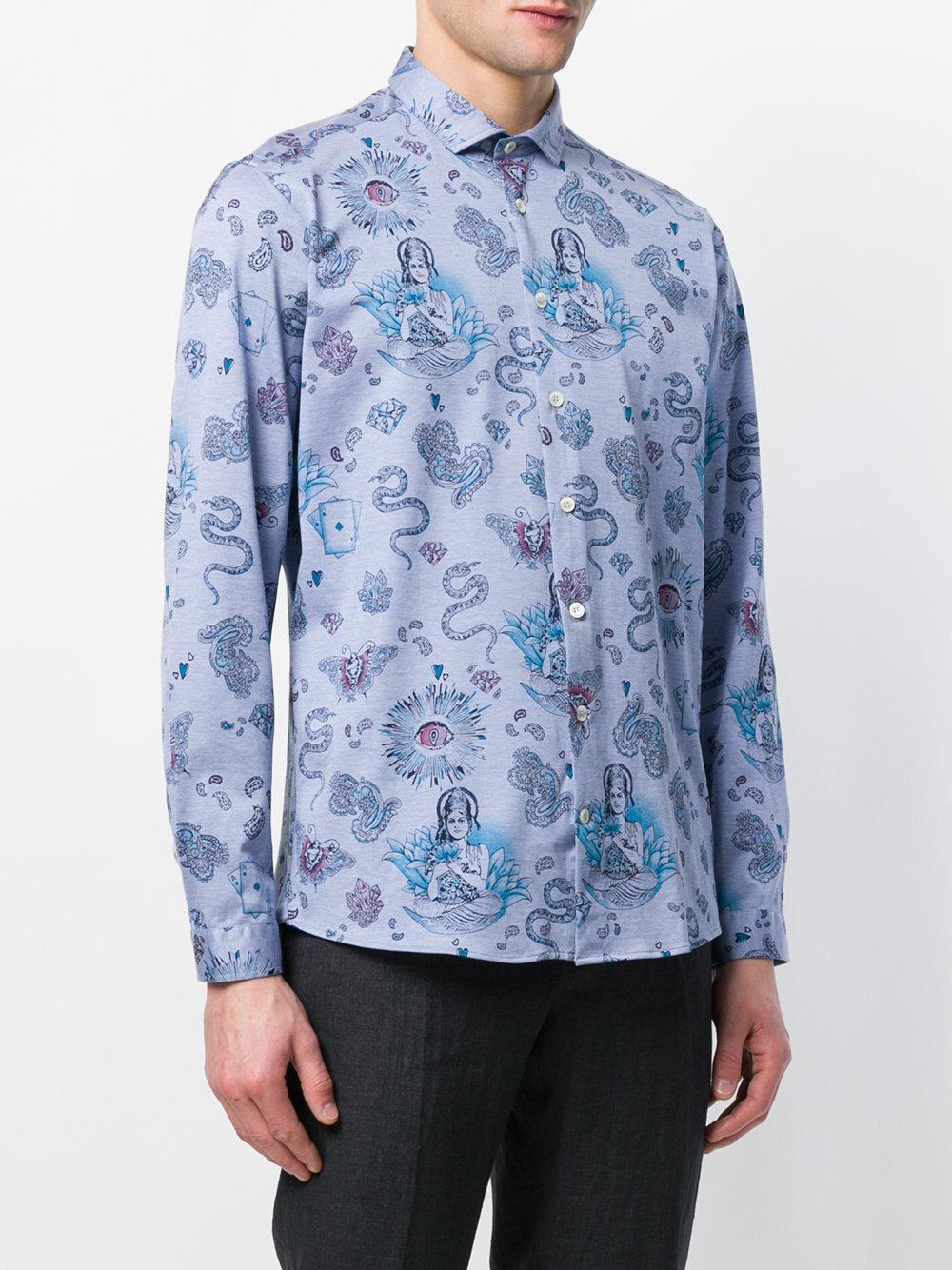 Indian print shirt - Blue Etro Inexpensive 7VNtp3b