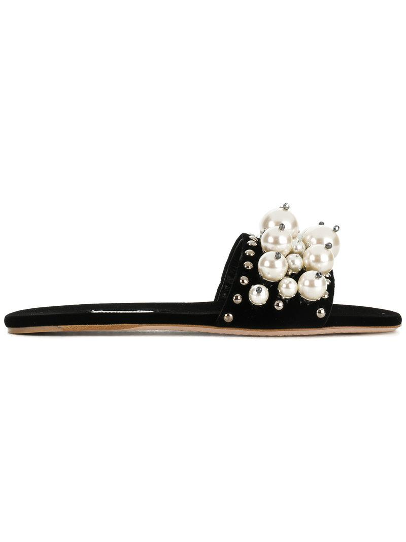 717f0eebc02 Lyst - Miu Miu Peal Embellished Sliders in Black - Save 34%