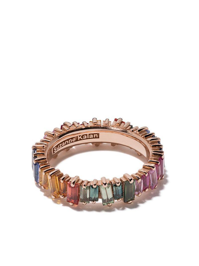 a7a20674b45b Anillo Eternity Rainbow con zafiros en oro rosa de 18 kt Suzanne ...