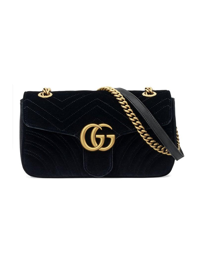 e649265bde4 Gucci GG Marmont Velvet Shoulder Bag in Black - Save 4% - Lyst