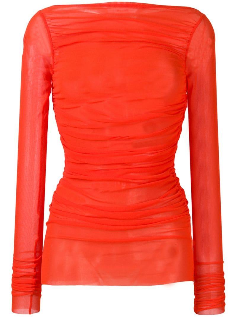 5e3967cce03900 MSGM Ruched Mesh Slash Neck Top in Red - Lyst
