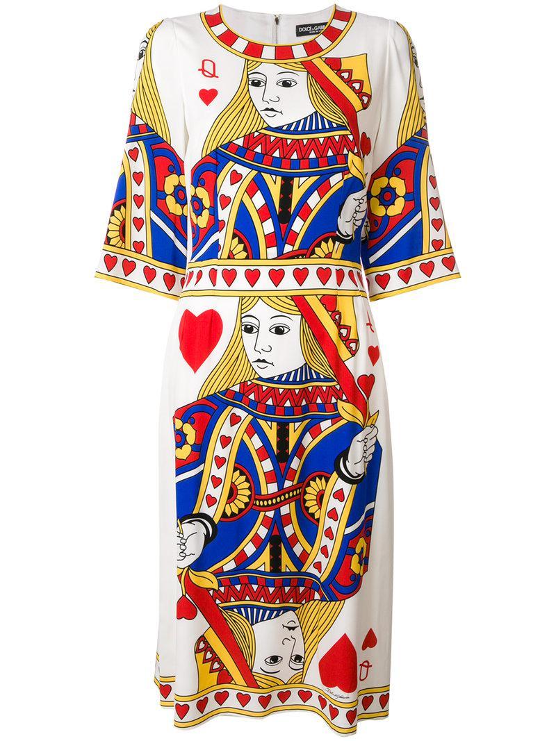 9196028e803cae Lyst - Dolce   Gabbana Queen Of Hearts Dress