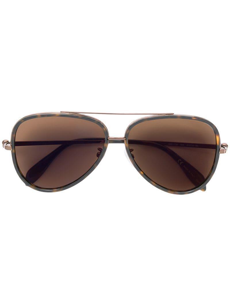 25413b879c3 Lyst - Alexander Mcqueen Aviator Sunglasses in Brown for Men