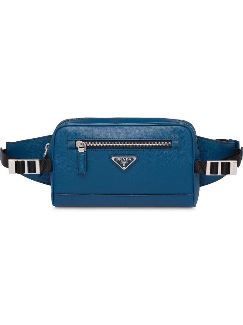 9041c723c29f Prada Saffiano Leather Belt Bag in Blue for Men - Lyst