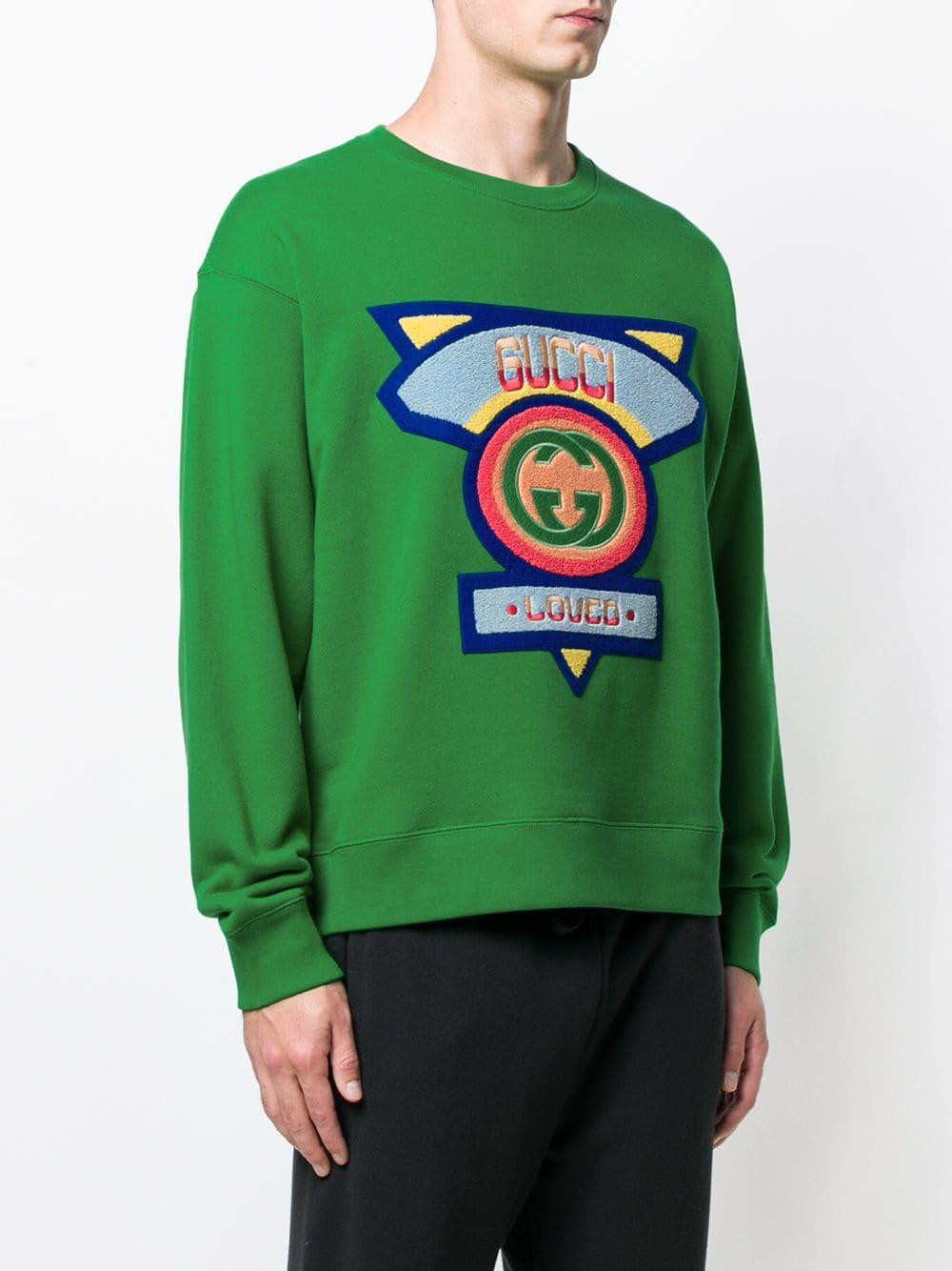 9631a7f6674 Lyst - Gucci Flocked Sweatshirt in Green for Men