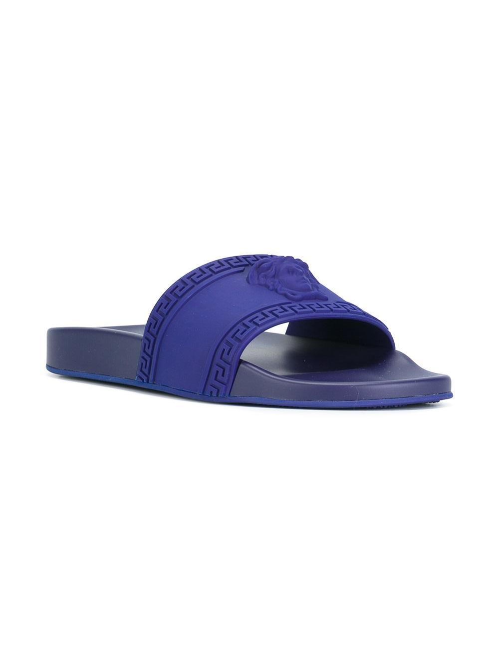 e6bd61a7a7432 Lyst - Versace Medusa Pool Slides in Blue for Men