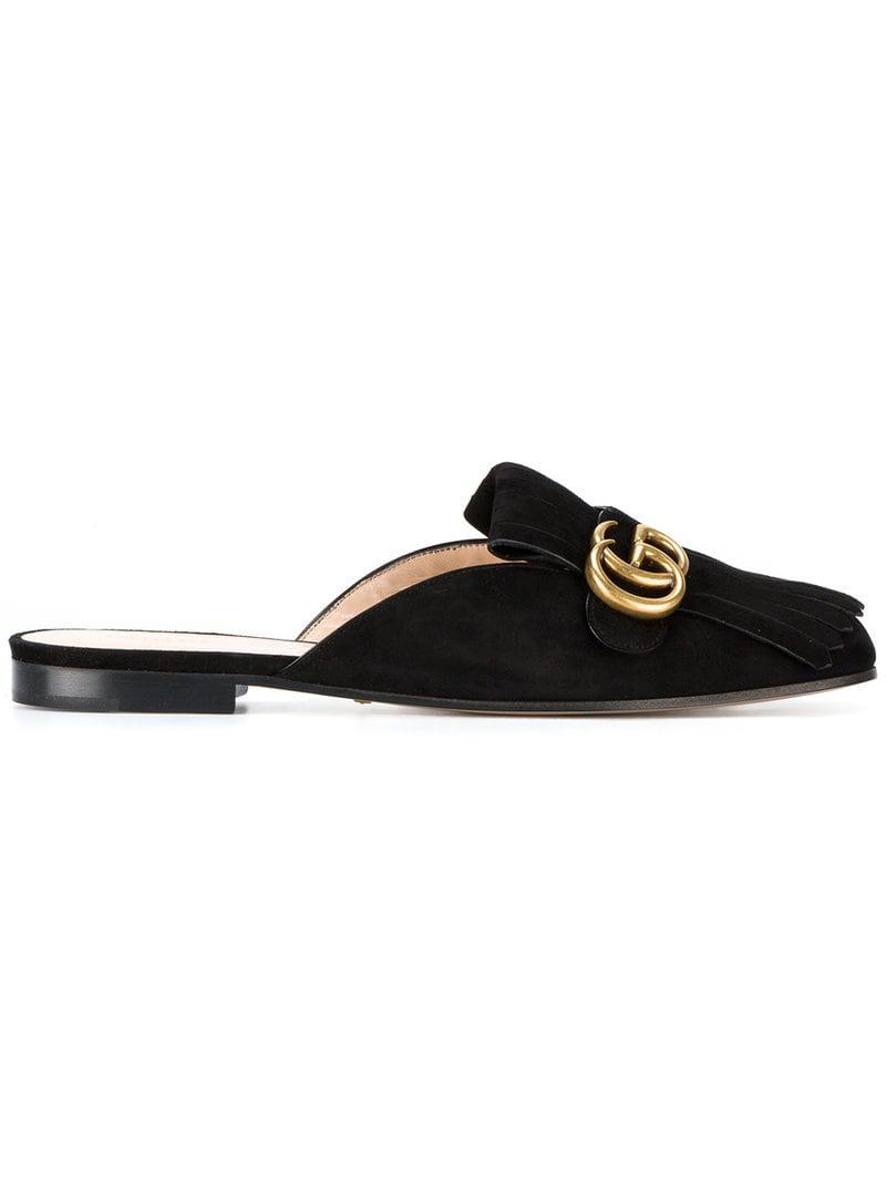 841bb6757 Gucci GG Marmont Slippers in Black - Lyst