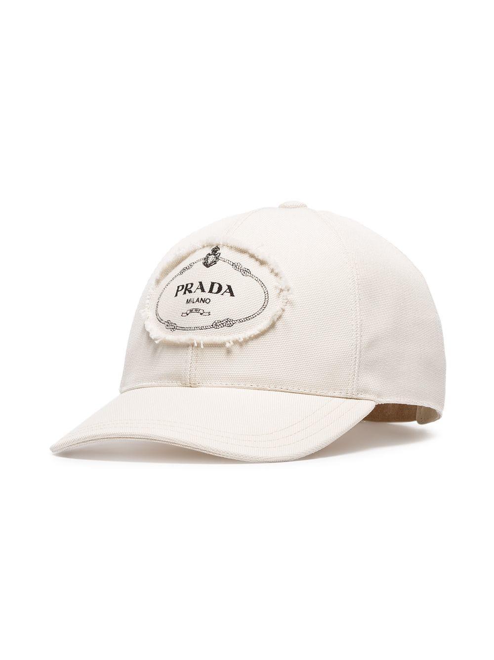 7ec43b9af22 Prada White And Black Logo Print Applique Cotton Cap in White for ...