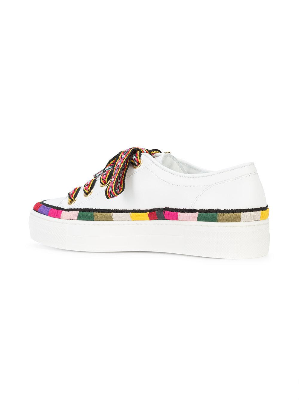 stripe detail lace-up sneakers - White Etro yWmIp1