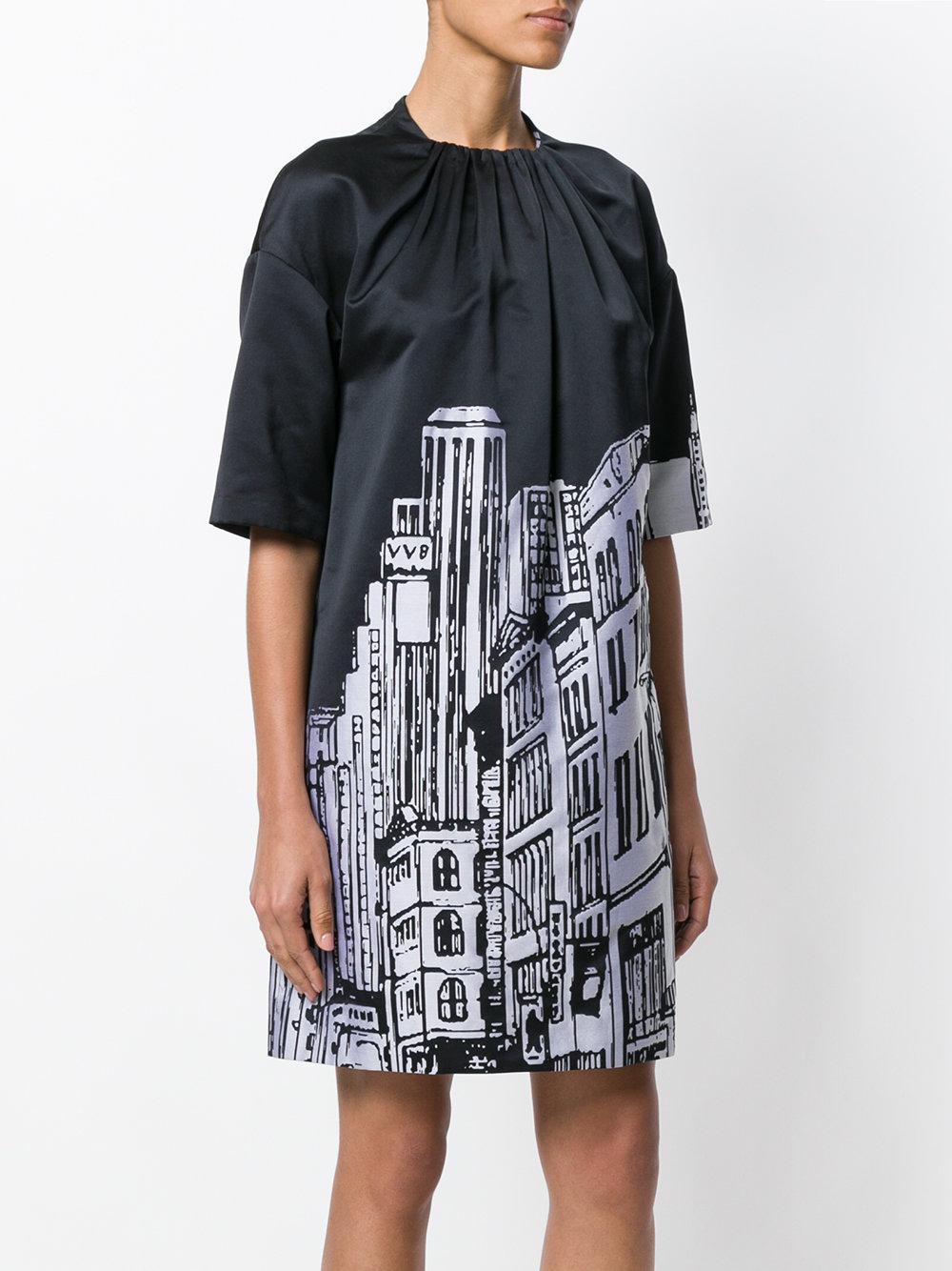 Victoria estampado Negro urbano paisaje de Vestido Beckham 06Hwfx