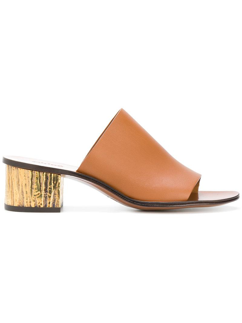 Chloé Mules leather metal block heel Ou6HzsO5i